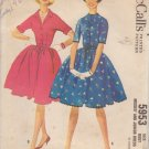 McCALL'S VINTAGE 1961 PATTERN 5953 SIZE 12 MISSES' DRESS IN 2 VARIATIONS UNCUT