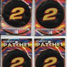 """4 PACKAGED NUMBER 2 PATCHES  3 3/8"""" ROUND  IRON OR SEW ON"""