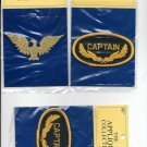 """2 CAPTAINS  PATCH 3 1/2"""" X 2"""" & 1 EAGLE 3 1/2 X 1 3/8 PATCH IRON ON OR SEW ON"""