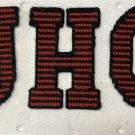 "SCHOOL LETTERS U C & H  5 1/2"" X 4"" IN RED & BLACK SEW ON"