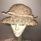"""VINTAGE LADIES'  PINK WOVEN HAT WITH PINK BOW 21"""" #138"""