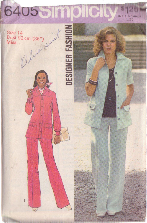 SIMPLICITY 1974 VINTAGE PATTERN 6405 SZ 14 DESIGNER PANTSUIT