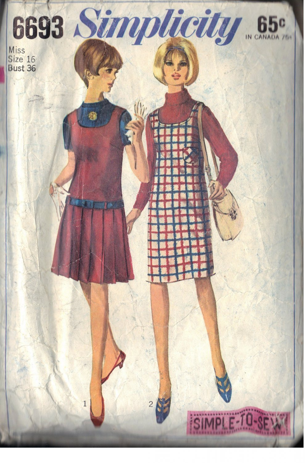 SIMPLICITY PATTERN 6693 SIZES 16 MISSES' JUMPERS