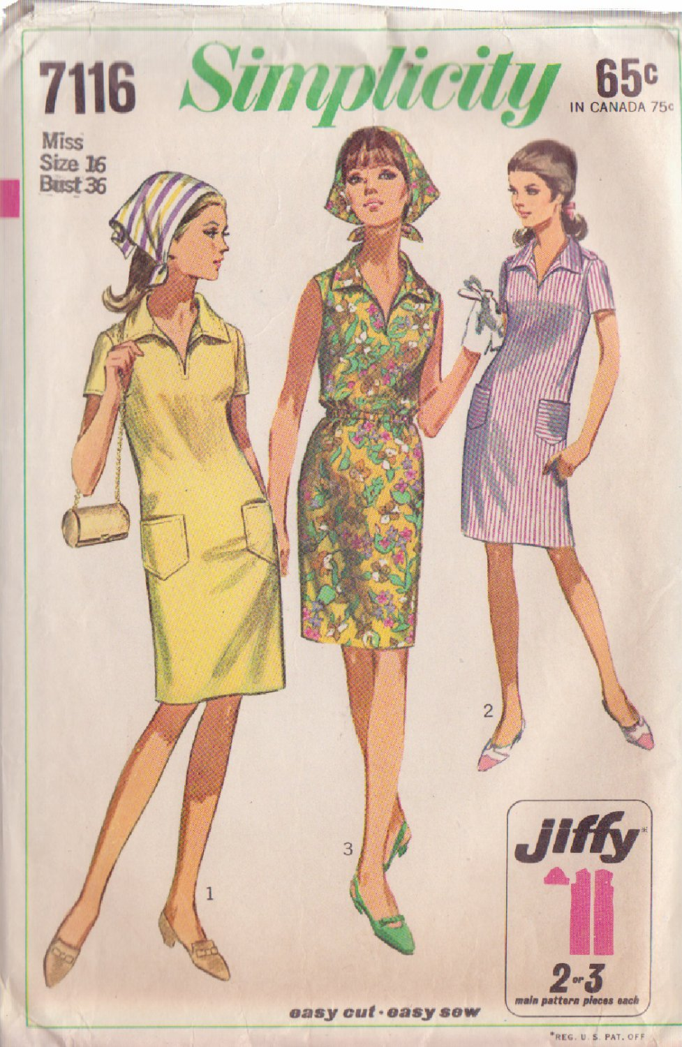 SIMPLICITY PATTERN 7116 SZ 16 MISSES' DRESS & SCARF IN 3 VARATIONS