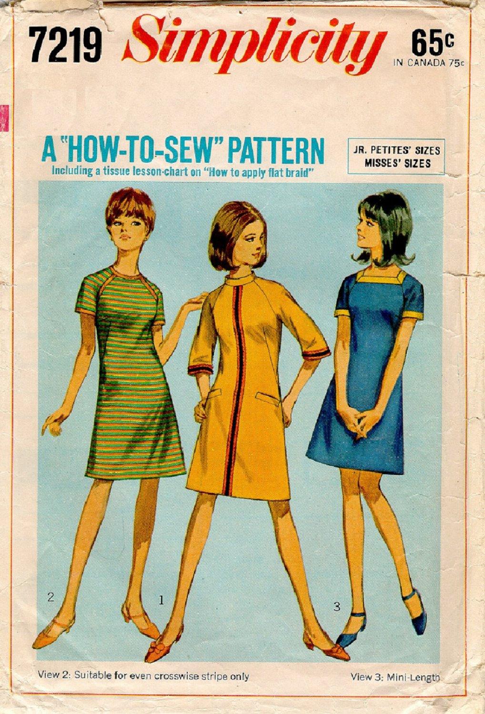 SIMPLICITY VINTAGE 1967 PATTERN 7219 SIZE 7jp MISSES'  DRESS 3 VARIATIONS