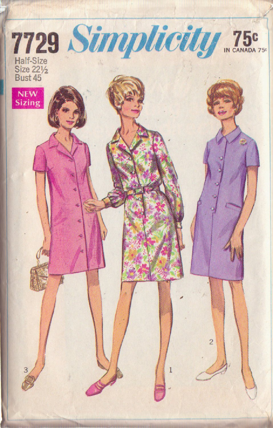 SIMPLICITY PATTERN 7729 SIZE 22 ½ MISSES' STEP IN DRESS AND COAT DRESS