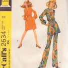 McCALL'S 1970 PATTERN 2634 MISSES' SIZE 14 DRESS OR TOP AND PANTS