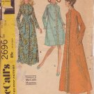 McCALLS VINTAGE 1970 PATTERN 2696 SIZE MD 12/14 MISSES'  ROBE IN 3 VERSIONS