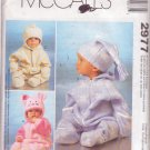 McCALL'S PATTERN 2977 INFANTS BUNTING 2 STYLES, HATS IN 3 VARIATIONS SIZE S/M/L