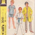 McCALL'S VINTAGE 1971 PATTERN 3041 SIZE 12 BOY'S PAJAMA & ROBE
