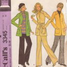 McCALL'S PATTERN 3345 MISSES' SIZE 14 UNLINED JACKET AND PANTS