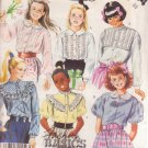 McCALL'S PATTERN 3394 SIZE 10 CHILD'S BLOUSE IN 6 VARIATIONS