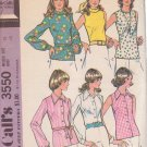 McCALL'S PATTERN 3550 DATED 1973 SIZE 18 MISSES SET OF BLOUSES