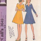McCALL'S VINTAGE PATTERN 3649 MISSES' DRESS in 2 VARIATIONS SIZE 14
