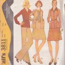 McCALL'S 1973 PATTERN 3811 SIZE 16 1/2  MISSES' 1/2 SIZED WARDROBE