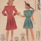 McCALL'S 1940's PATTERN 3840 GIRL'S SIZE 10 DRESS IN 2 VARIATIONS