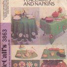 McCALL'S PATTERN 3863 TABLECLOTHS, PLACEMATS, NAPKINS, CHRISTMAS TREE SKIRT