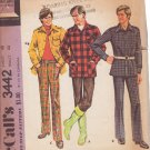 McCALL'S 1972 PATTERN 3442 SIZE 48 MEN'S SHIRT-JACKET AND PANTS