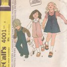 McCALL'S 1974 PATTERN 4001 SIZE 2 JUMPSUIT OR JUMPER & SHIRT