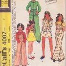 McCALL'S PATTERN 4007 GIRLS' JACKET, SKIRT, PANTS DETACHABLE BIB SIZE 7 UNCUT