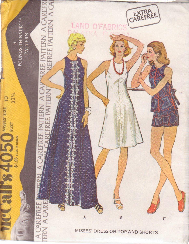 McCALL'S PATTERN 4050 SIZE 10 MISSES' DRESS 2 LENGTHS, TOP, SHORTS UNCUT