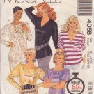 McCALL'S PATTERN 4058 SIZE XLARGE 22-24 MISSES' TOPS IN 5 VARIATIONS