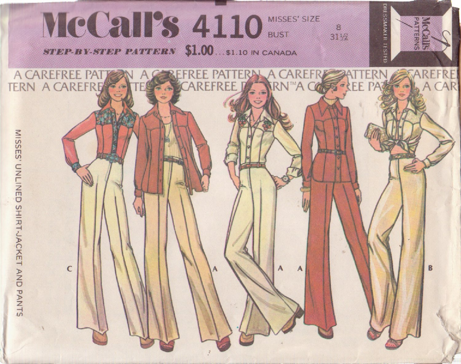 McCALL'S 1974 PATTERN 4110 SIZE 8 MISSES� UNLINED SHIRT-JACKET AND PANTS