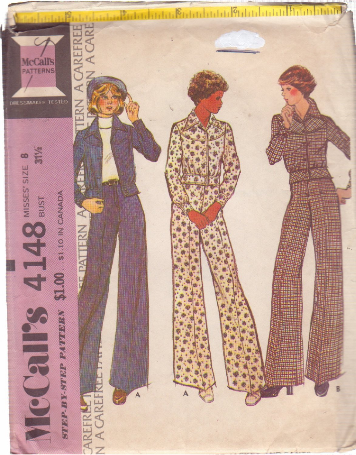 McCALL'S PATTERN 4148 SIZE 8 MISSES� UNLINED JACKET AND PANTS