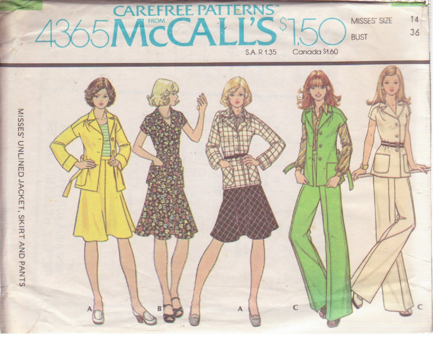 McCALL'S 1974 PATTERN 4365 SIZE 14 MISSES� JACKET, SKIRT AND PANTS