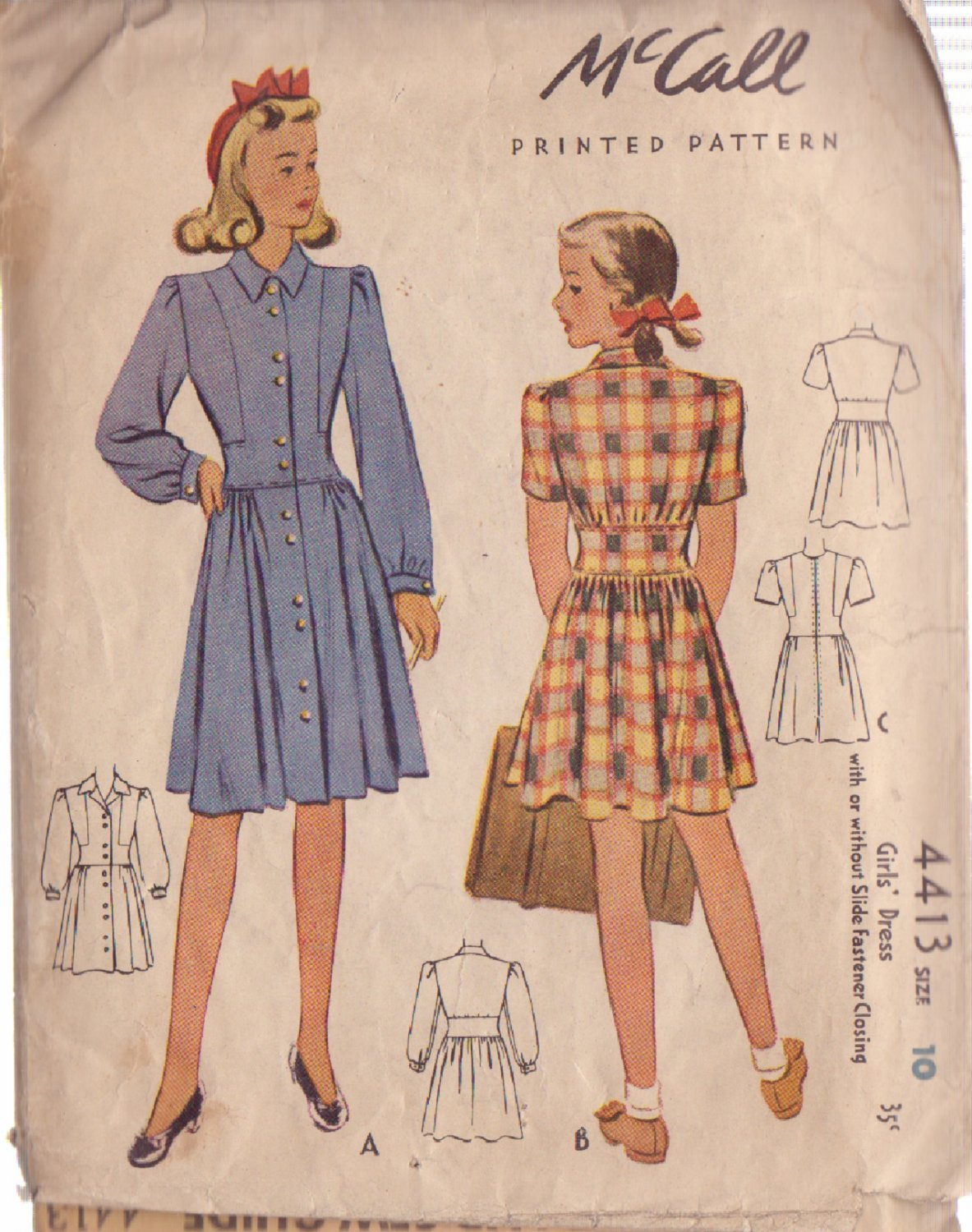 McCALL'S 1941 VINTAGE PATTERN 4413 SIZE 10 GIRLS' DRESS IN 2 VARIATIONS