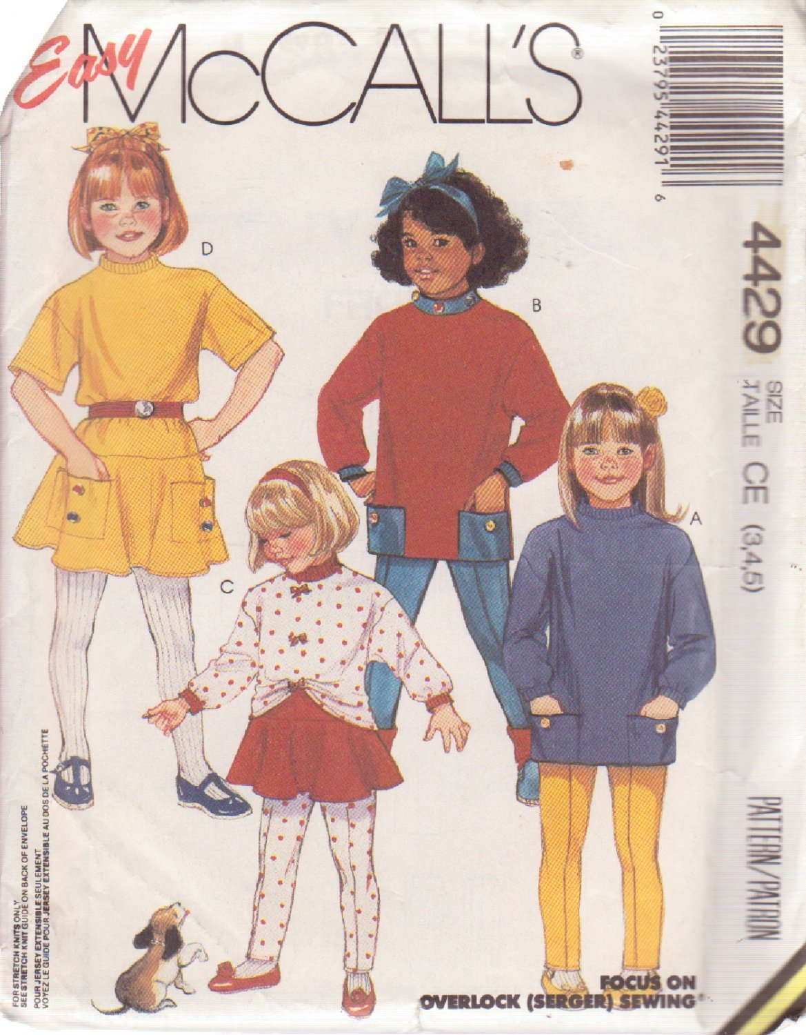 McCALL'S 1989 PATTERN 4429 SIZES 3,4,5 GIRLS' TOPS, SKIRT AND PANTS UNCUT