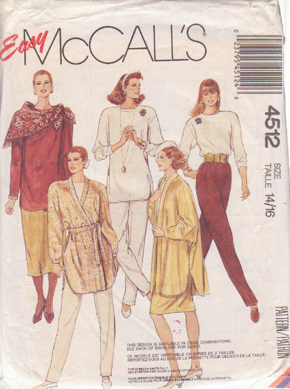 McCALL'S 1988 PATTERN 4512 SZ 14 &16 MISSES' JACKET TIE BELT TOPS SKIRTS PANTS
