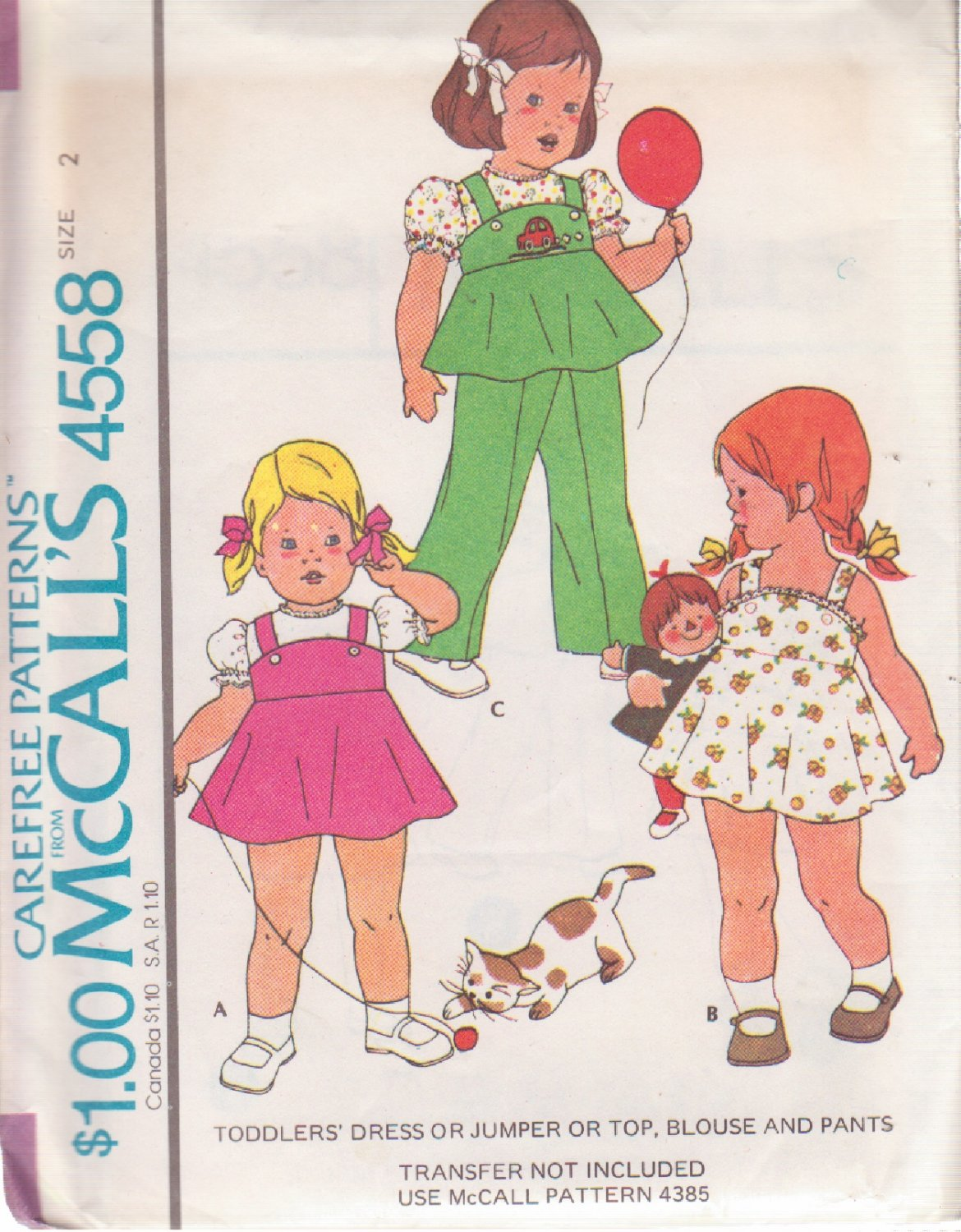 McCALL'S 1975 PATTERN 4558 SIZE 2 TODDLER'S DRESS, JUMPER, TOP, BLOUSE AND PANTS