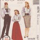 McCALL'S 1989 PATTERN 4574 SIZES 8/10/12 MISSES' SKIRTS, PANTS AND CUMMERBUND