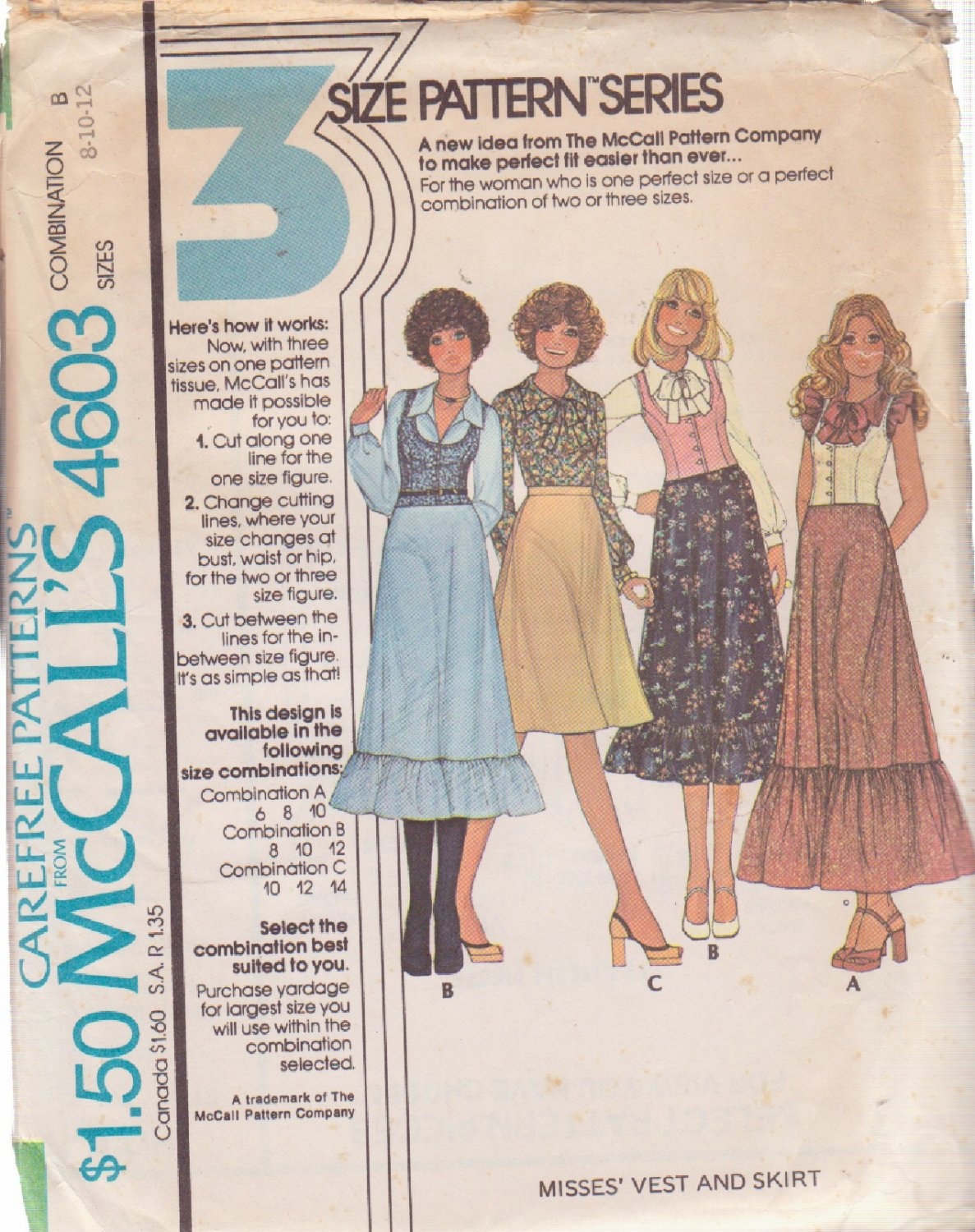 McCALL'S 1975 PATTERN 4603 SIZE 8 MISSES' VEST AND SKIRT IN 3 VARIATIONS