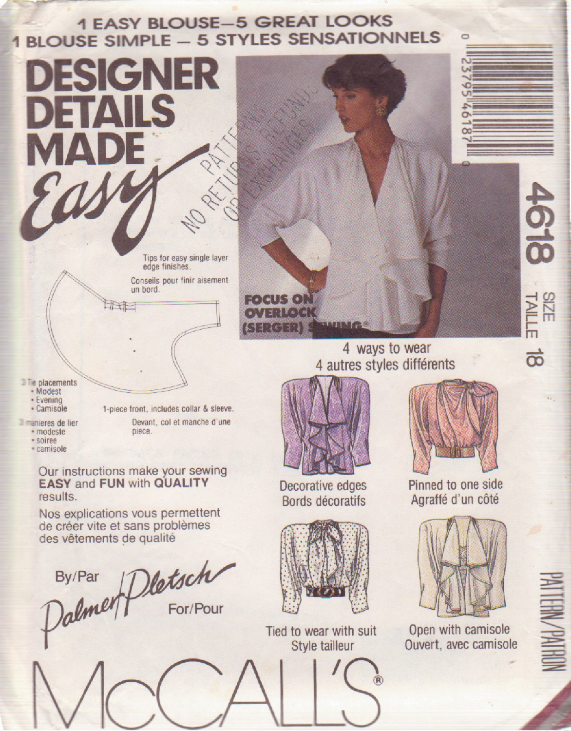 McCALL'S 1989 PATTERN 4618 SIZE 18 MISSES' BLOUSE WITH 5 GREAT DESIGNER LOOKS