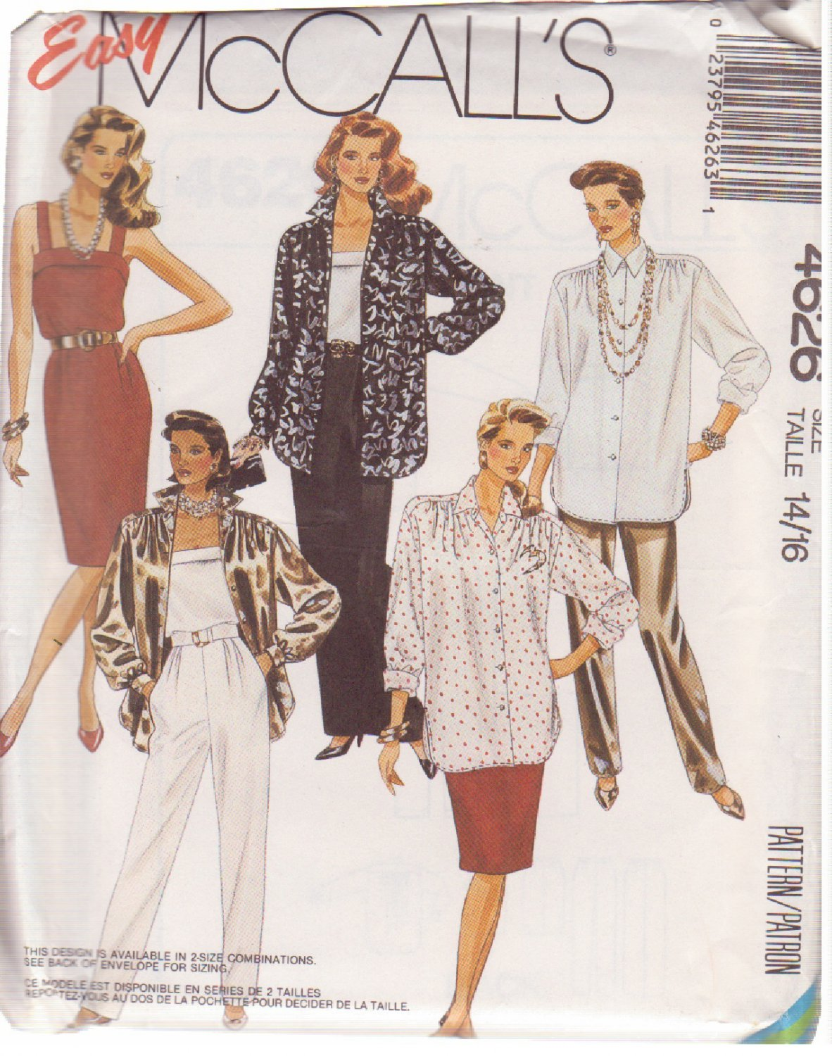 McCALL'S 1989 PATTERN 4626, MISSES' TUNIC, CAMISOLE, SKIRTS, PANTS SIZE 14,16