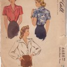 McCALL'S 1942 PATTERN 4688 SIZE 14 MISSES' BLOUSE IN 2 VARIATIONS
