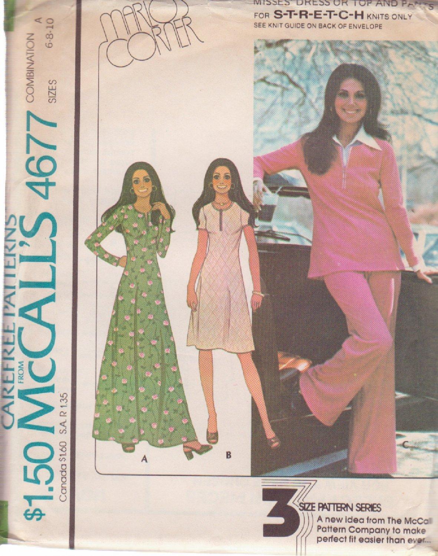 McCall's VINTAGE 1975 PATTERN 4677 SZ 6/8/10 MISSES' DRESS, TOP, PANTS UNCUT