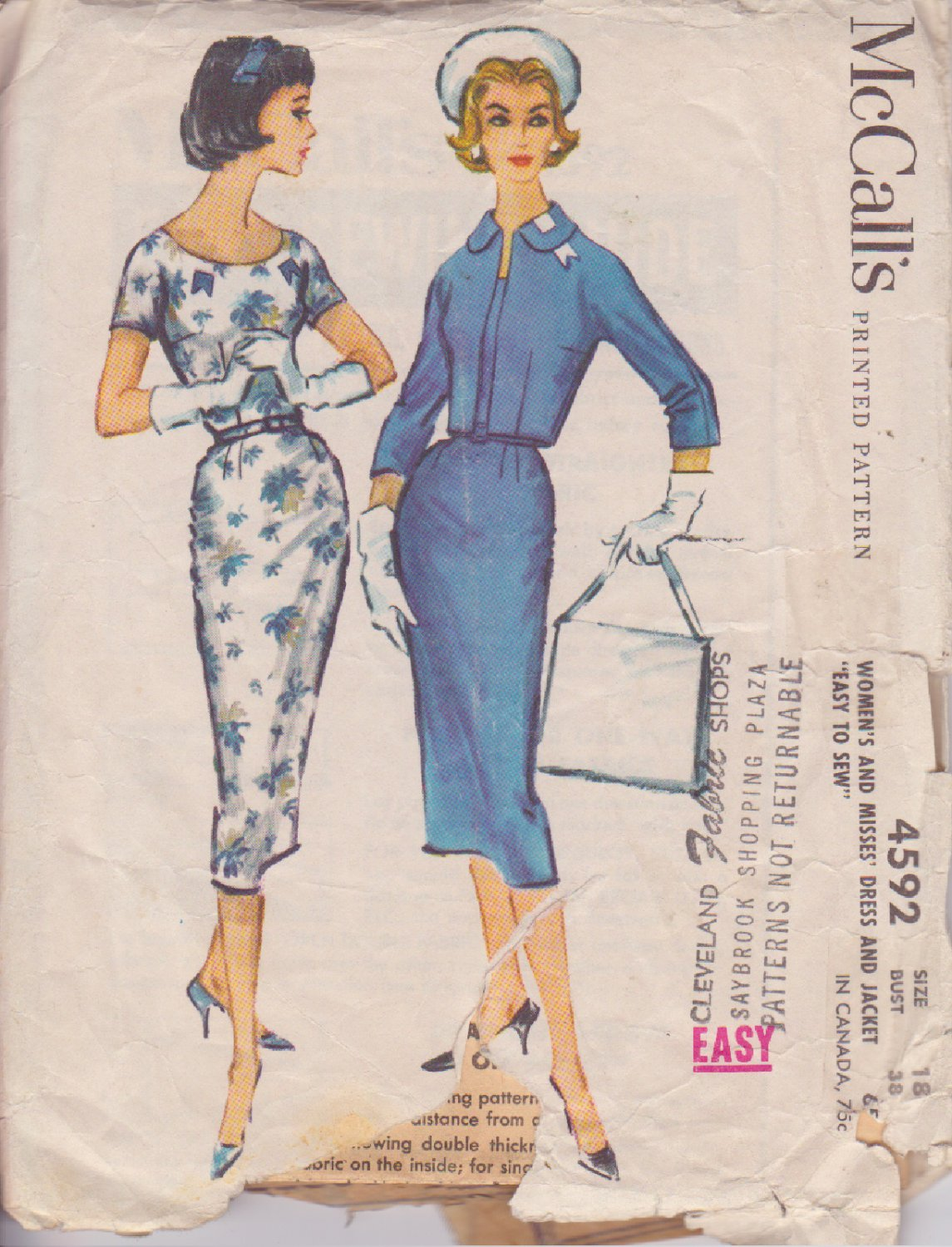 McCALL'S 1958 VINTAGE PATTERN 4592 SIZE 18 MISSES' DRESS AND JACKET