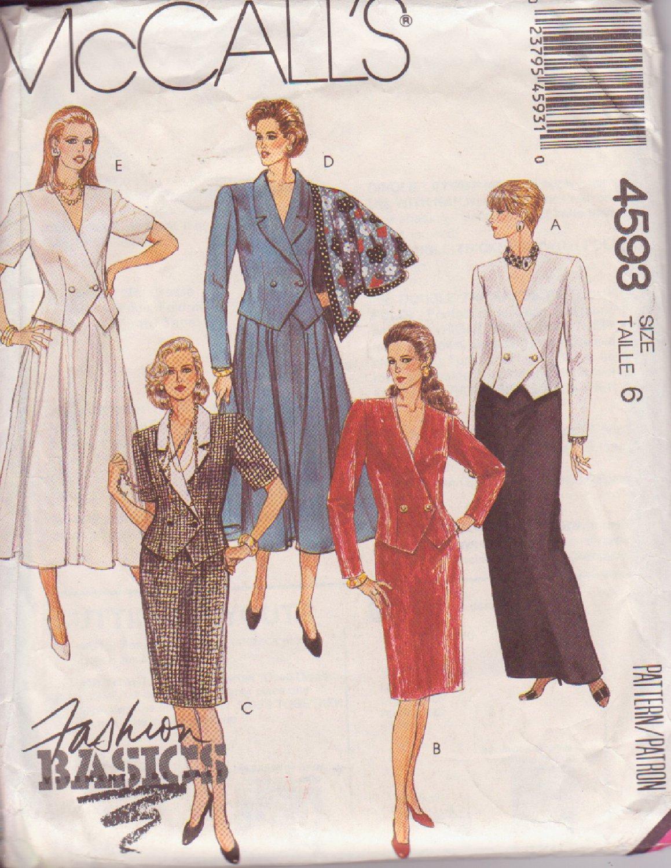 McCALL'S 1989 VINTAGE PATTERN 4593 SIZE 6 MISSES' 2 PIECE DRESS