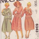 McCALL'S VINTAGE PATTERN 6343 MISSES' DRESS IN 3 VARIATIONS SIZE 12 UNCUT