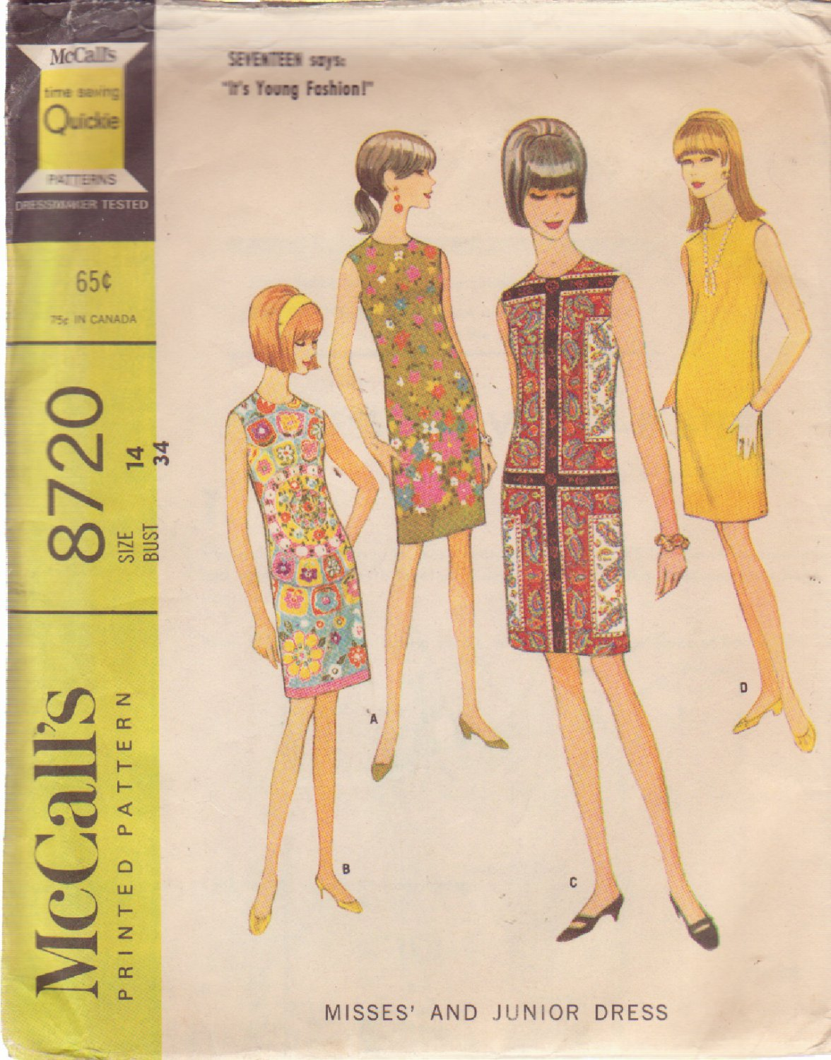 McCALL'S PATTERN 8720 SIZE 14 DATED 1967 MISSES' DRESS IN 4 STYLES