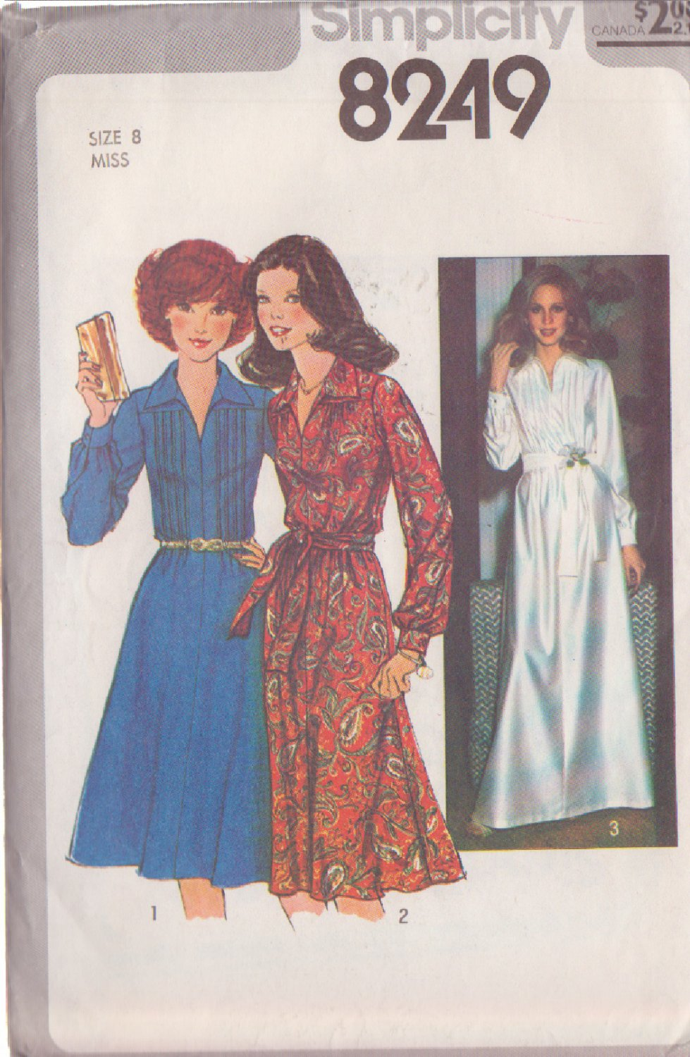 Simplicity pattern 8249, dated 1977, Size 8 Misses' Dress in 3 Variations UNCUT