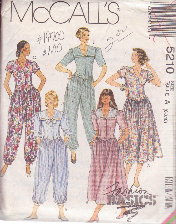 McCALL'S PATTERN 5210 DATED 1991 SZ 6/8/10 MISSES' DRESS & JUMPSUIT