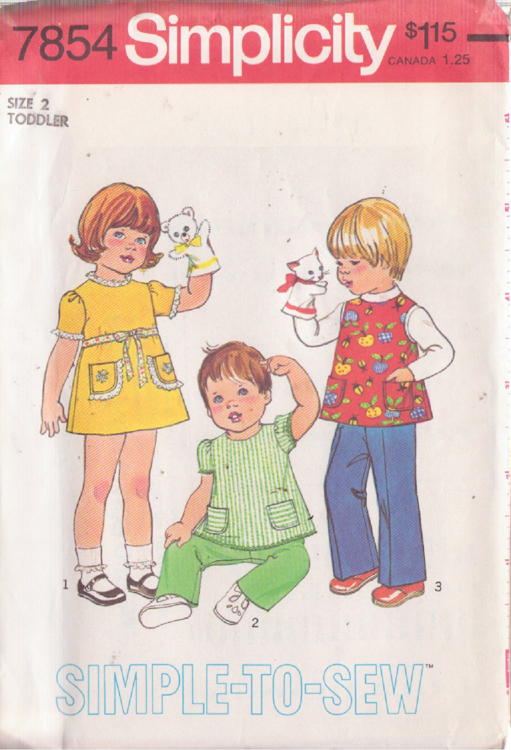 SIMPLICITY 1977 PATTERN 7854 SIZE 2 TODDLER'S DRESS, TOP AND PANTS