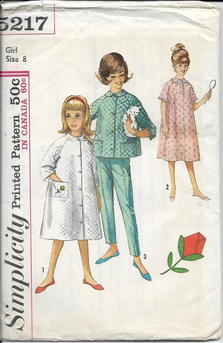 SIMPLICITY 1960's VINTAGE 5217 SIZE 8 GIRL'S ROBE TOP PANTS