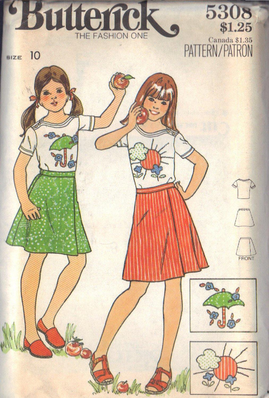 BUTTERICK VINTAGE PATTERN 5308 SIZE 10 GIRL'S T-SHIRT SKIRT & APPLIQUES