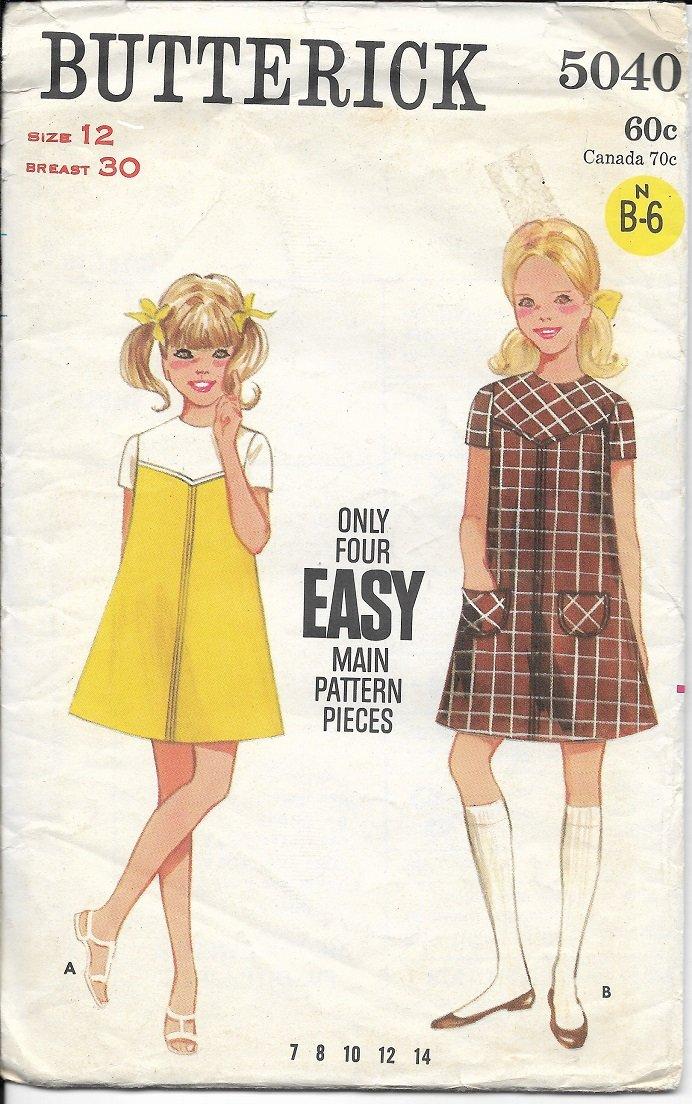 BUTTERICK VINTAGE PATTERN 5040 SIZE 12 GIRL'S ONE PIECE A-LINE DRESS
