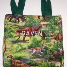 PERSONALIZED tote book bag - DINOSAURS